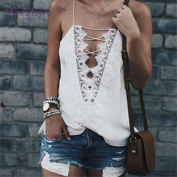MisShow Summer Style Women Tops Sexy V Neck Camisoles For Ladies Black White Spaghetti Strap Lace Patchwork Hollow Back Cami Top