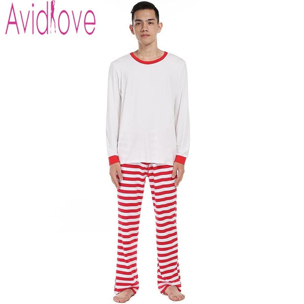 Avidlove Men Cotton Pajamas Set Long Sleeve Pullover Tops and Striped Pants Plus Size Soft Loose Nightwear Sleepwear Home Cloth