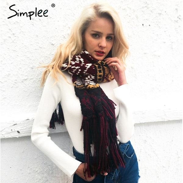 Simplee Tassel knitting warm women scarf Fashion winter thick big scarf  women  Soft colored knitted long scarf
