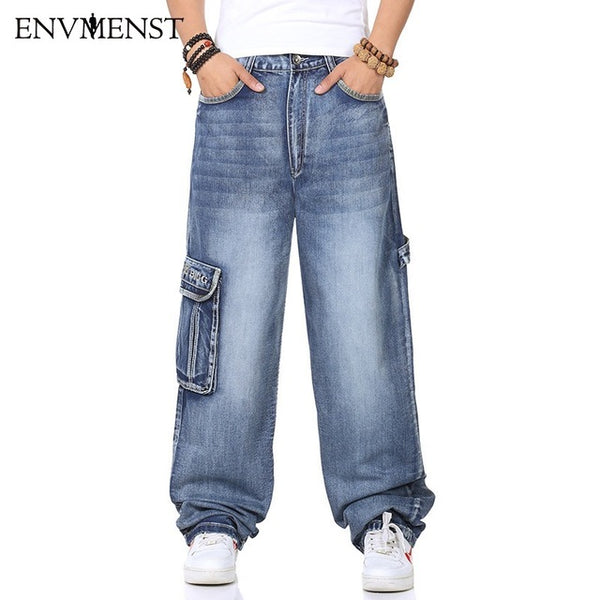 2017 Men's Cargo Jeans Pants Multi Pocket Hip Hop Designer Baggy Jeans Men's Loose Fit Casual Trousers Cotton Supper Big Size 46