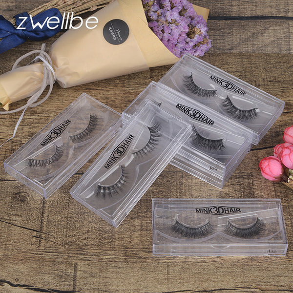 zwellbe Mink Lashes 3D False Eyelashes 1 pair Natural Eyelashes Super Quality Fake Eye Lash Extension for Makeup