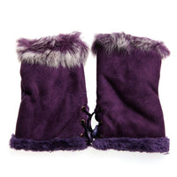 1pair Cute Women's Warm Winter Rabbit Fur Leather Fingerless Comfortable Gloves