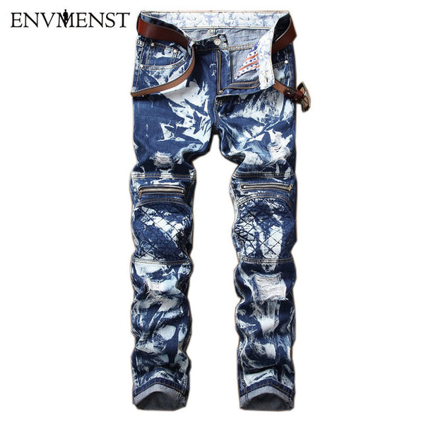2017 Envmenst New Snow wash Designed Men's Blue White Jeans Casual Distressed Zipper Hi-street Style Men's Denim Pants 42 Size