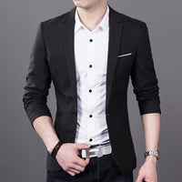 FGKKS New Arrival Fashion Blazer Mens Casual Jacket Solid Color Cotton Men Blazer Jacket Men Classic Mens Suit Jackets Coats