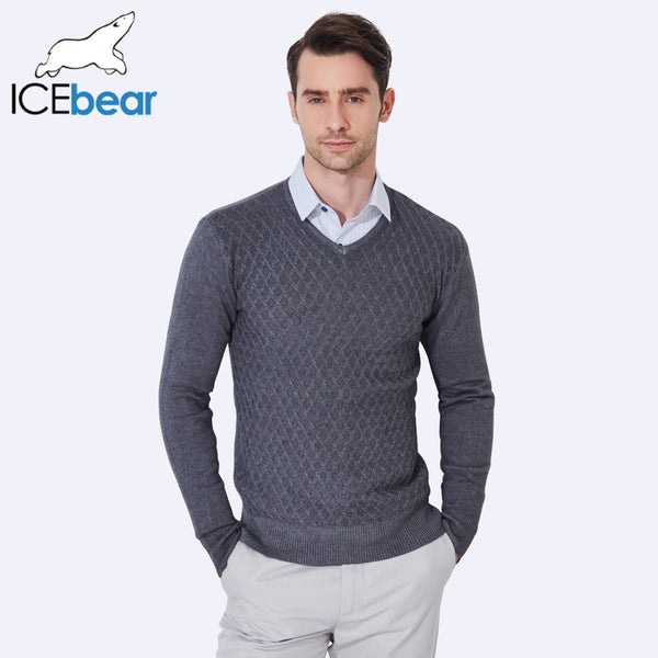 ICEbear 2017 Men Design Sweaters High Quality Plaid Knitted  New Spring Fashion Brand Clothing Casual Sweater Male 8918D