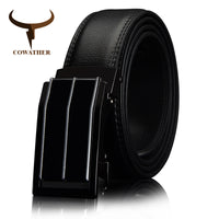 COWATHER COW Genuine Leather belts for men Automatic Ratchet Buckle Fashion CasualLeather belts length 110-130CM CZ054