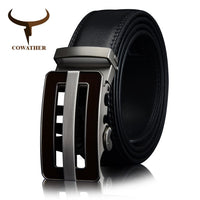 COWATHER COW Genuine Leather belts for men Automatic Buckle Fashion business real Leather belt trousers 30 32 34 36 38 40 42 44
