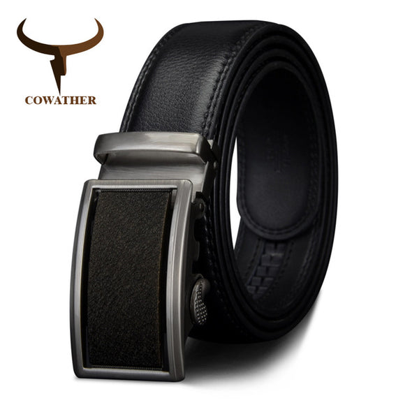 COWATHER 2017 Genuine Leather belts for men Automatic Ratchet Buckle Fashion formal Leather belts big size 110-130CM long CZ053