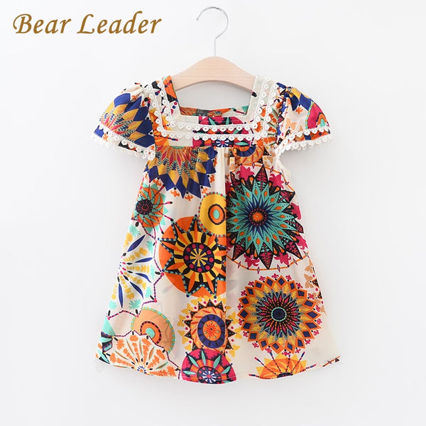 Bear Leader Girls Dress 2017 New Summer Style Girl Clothes Sleeveless Sunflower Print Design China Dresses Children Clothes 3-7Y