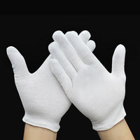12 Pairs White Inspection Cotton Lisle Work Gloves Coin Jewelry Lightweight New