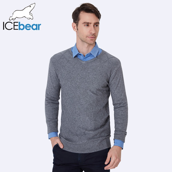 ICEbear 2017 Autumn V-Neck Men Pullover Sweaters New Spring Knitted Male Sweater Fashion Casual High Quality 8020D