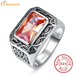 Vintage Men Silver Ring Jewelry 925 Sterling Silver Jewelry 6.75Ct Morganite Antique Square Rings For Men Anillos Bague Gifts