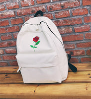 Moon Wood Newest Embroidery Rose Lloral Backpack Men Women's Travel Bags Mochilas Rucksack School Bags For Teenager Girls Boys