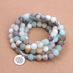 Fashion Women`s bracelet Matte Frosted Amazonite beads with Lotus OM Buddha Charm Yoga Bracelet 108 mala necklace dropshipping