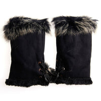 5 Color Cute Women's Rabbit Fur Winter Leather Warm Fingerless Gloves Comfortable