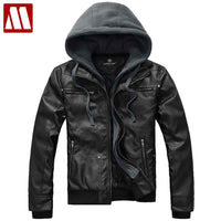 Free shipping! Removable hoodies New outwear slim fit leather jackets autumn winter Fashion transverse Men's leather coats C488