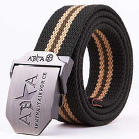 Fashion Unisex Canvas Belts Brand Leisure Waistband for Men Women Strap Casual Tactical Belt Metal Buckle Belts 110 140CM