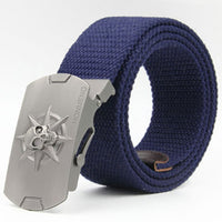 3D Skull Belt for Men Tactical Military Equipment Hip Belt Canvas Men's Ceinture Wide Strap Strong Buckle Belts Free Shipping