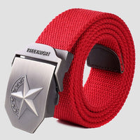 Hot 3D Star Metal Buckle Military Belt Fashion Strong Canvas Army Tactical Belts Men's Top Quality Belts Luxury Strap 20 Colors