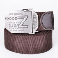 New Arrival Real Striped Adult Fashion Men Free Leather Belt Ultra Long 140 Canvas Belt Man Automatic Buckle Strap Knitted belts