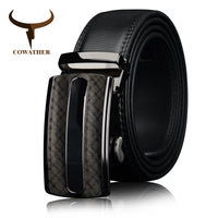 COWATHER 2017 Men cow genuine leather belts for men high quality brown black Ratchet Automatic belt cinto masculino big size