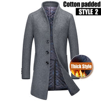 High quality 50% Wool Coats Men Autumn Winter Business Casual Single Breasted Long Trench Coat Men's England Style Windbreaker