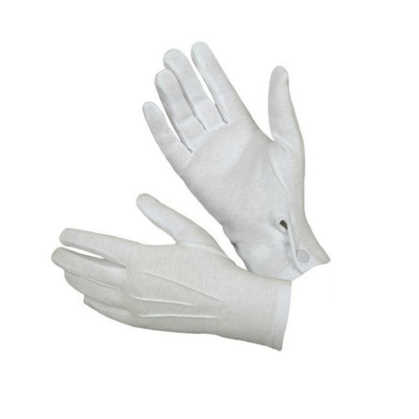 1Pair White Formal Gloves Snap Wrist Style Tuxedo Honor Guard Parade Santa Men Inspection Gloves & Mittens