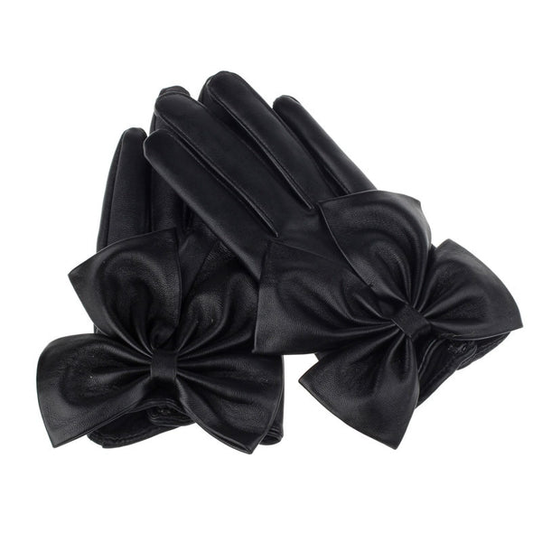 1Pair Fashion Women Ladies Butterfly Bow Wrist Soft PU Leather Winter Warm Gloves