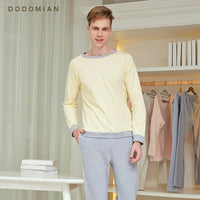 DO DO MIAN Tracksuit Men Loose Pajama Set Casual Loose Cotton Nightwear Loose  Home Clothing Night Shirts+Bottom Pant