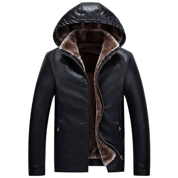 Brand motorcycle leather jackets for men thick leather jacket Men's Fur Hooded Winter leather Coats jaqueta de couro masculina
