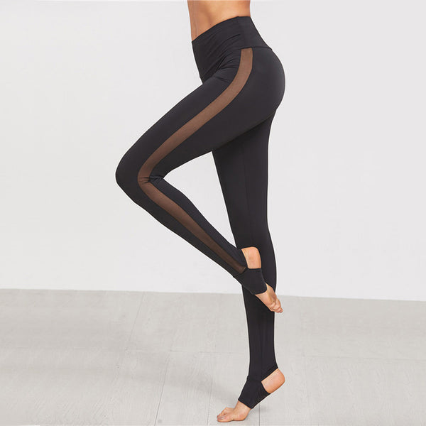 2017 Womens Breathable Mesh Splice Yoga Skinny Workout Gym Leggings Fitness Sports Elastic Pants make you look slim #11