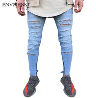 Envmenst Brand Designer Slim Fit Ripped Jeans Men Hi-Street Men's Distressed Denim Pants Knee Holes Washed Destroyed Harem Pants