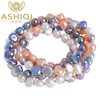 ASHIQI Freshwater Pearl bracelets for women Multi Color Baroque Pearl Crystal Beaded Bracelets & Bangles FI jewelry gift