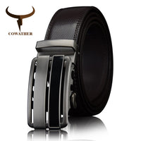 COWATHER cow Genuine Leather men Belts 2017 Automatic Buckle black brown strap for male Fashion  length 110-130cm CZ060