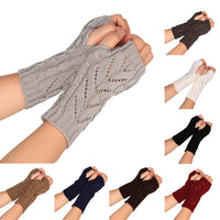 Fashion Knitted Arm Fingerless Winter Gloves Unisex Soft Warm Mitten