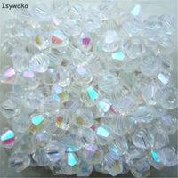 Isywaka Sale White AB Color 100pcs 4mm Bicone Austria Crystal Beads charm Glass Beads Loose Spacer Bead for DIY Jewelry Making