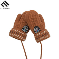 Evrfelan Winter Warm Mittens Glove Kid Children Girl's Cute Lanyard Luvas Whole Covered Finger Halter Gloves For Boys  Gloves
