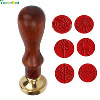 1 Set 6 Types Retro Classic Initial Wax Seal Stamp Wood Stamping Craft Gifts Christmas And Rose Picture With Retail Box