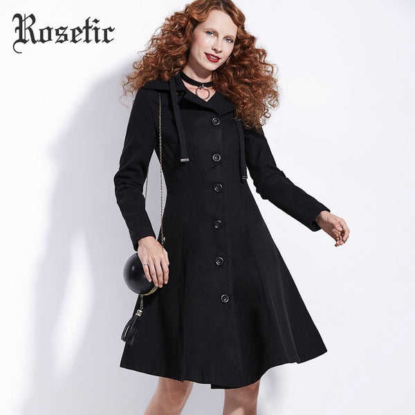Rosetic Gothic Black Woolen Overcoat Women Winter A-Line Single Breasted Outerwear Casual Plus Bodycon Fashion Female Goth Coat