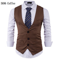 Men Suit Vest Classic V Collar Dress Slim Fit Wedding Waistcoat Mens Formal Slim Dress Sleeveless Vest Men Black Gilet Homme 2XL