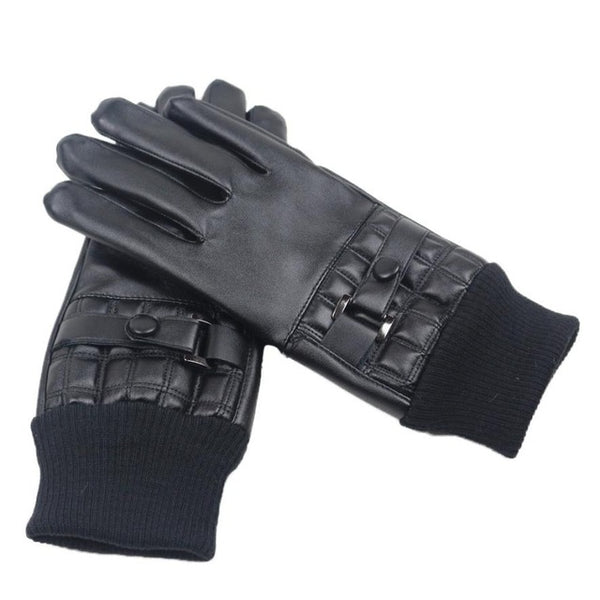 1 Pair Long Leather Gloves Winter Warm Leather Driving Gloves Men Feitong knitted Cuffs Touching Screen Mittens Guantes Moto