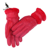 Fashion Genuine Fur Gloves Women Sheepskin Mittens Real Fur Sheep Leather Winter Warm Thickening Windproof Gloves For Women