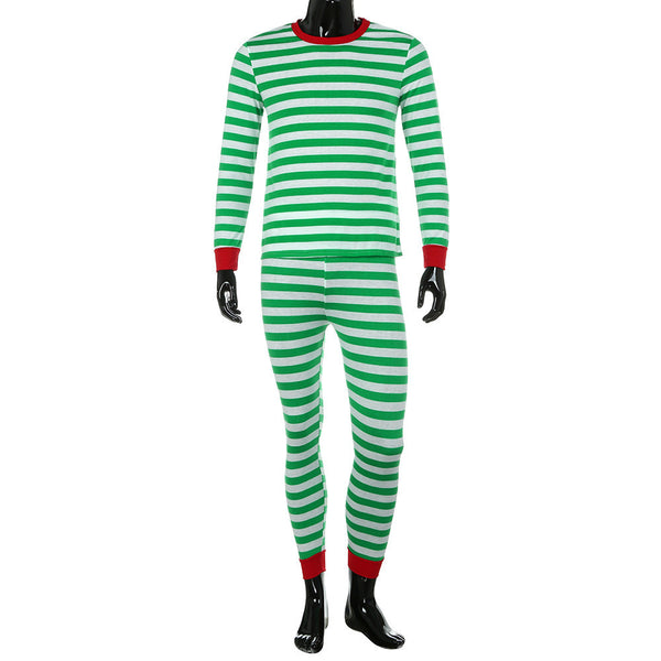 Men Family Matching Christmas  Pajamas Set  Blouse +Santa Striped Pants