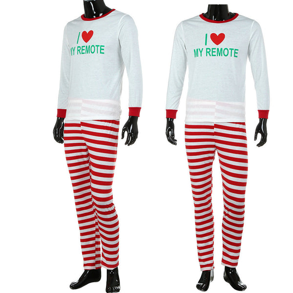 Man Family Matching Christmas Letter Pajamas Set  Blouse +Santa Striped Pants