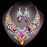 Fashion Leaf Bridal Jewelry Sets Wedding Engagement Necklace Earrings sets for Brides Party Costume Decoration Jewellery Women