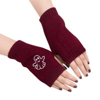 1 Pair Winter Women Fingerless Driving Gloves Girl Knitted Arm half finger Warm Gloves Soft Embroidery Mittens Guantes Sin Dedos