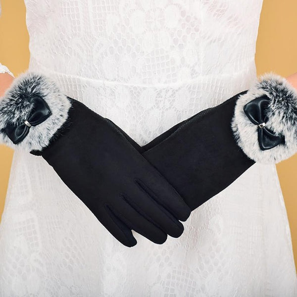 Fashion Women Winter Warm Gloves Wrist Thick Mittens Full Finger Glove with Fuzzy Gants Femme Bayan Eldiven Guantes Mujer