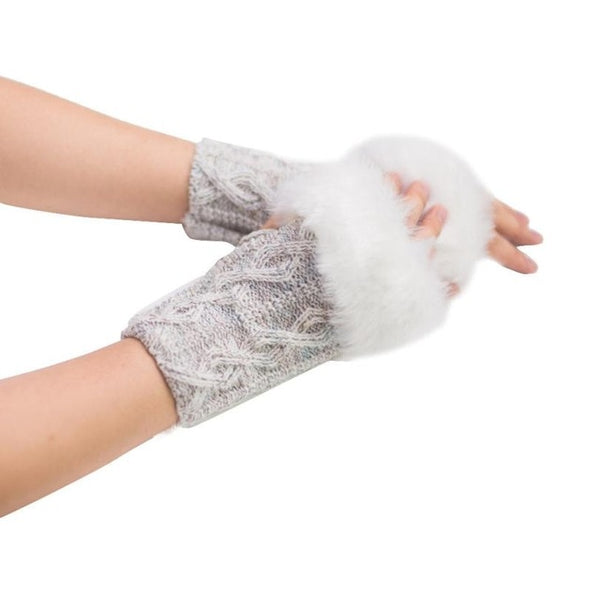 1Pair Fashion Accessories Women Warm Winter Fur Wrist Fingerless Gloves  Knitted Wool Faux Rabbit Fur Gloves Guantes Sin Dedos