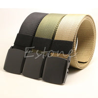 Hot Sell Fashion Hypoallergenic Metal Plastic Automatic Buckle Belt Wild Men Canvas Belt 3 Colors High Quality