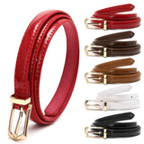 Hot! Lady Candy Color Thin Belt Alloy Buckle Faux Leather Waist Chain Strap Waistband Black/Red/White/Camel/Coffee